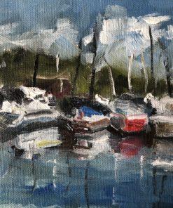 Segelboote auf Leinwand gemalt Öl